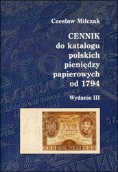Okładka przednia Cennika do Katalogu polskich pieniędzy papierowych od 1794 Czesława Miłczaka wydanie III