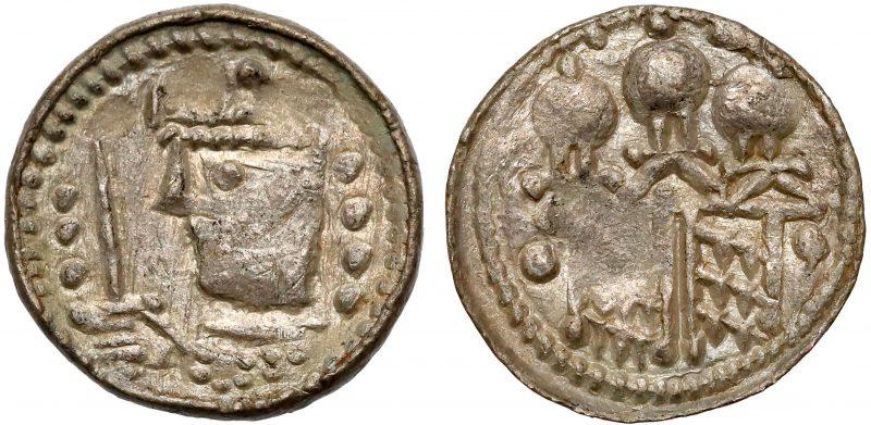 Denar królewski Bolesława II Śmiałego odmiana z dwoma rzędami kul po bokach