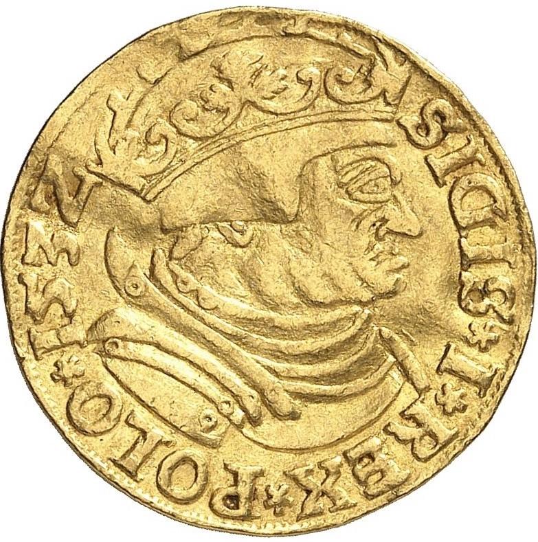 Awers Dukata 1532 Zygmunta I Starego odmiana CN