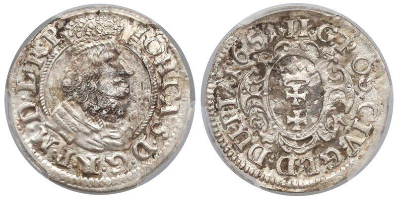 Dwugrosz gdański 1651 z obwódką na awersie
