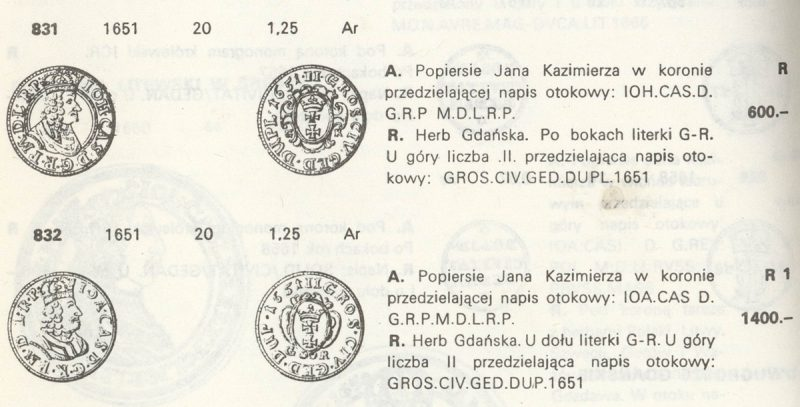 Dwugrosz z obwódką opisany w Katalogu Monet Polskich