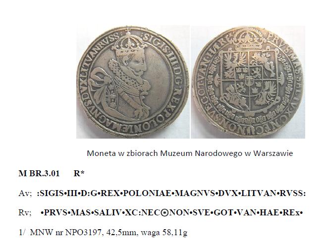 Wycinek z książki Katalog talarów medalowych Zygmunta III Wazy J. Dostycha