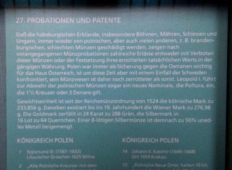 Legenda do gabloty Gabinetu Numizmatycznego w Wiedniu 1