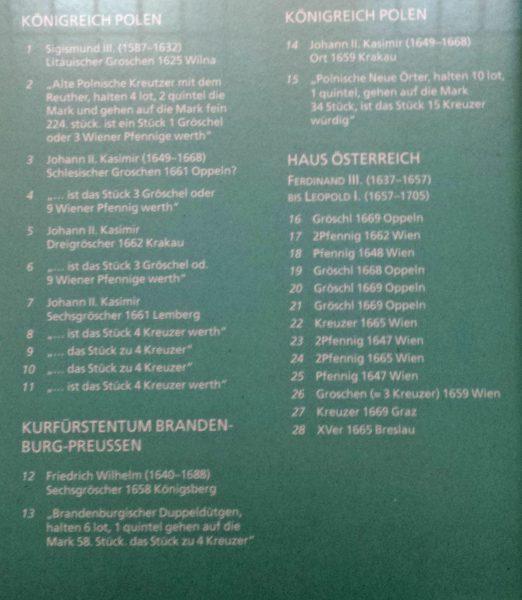 Legenda do gabloty Gabinetu Numizmatycznego w Wiedniu 2