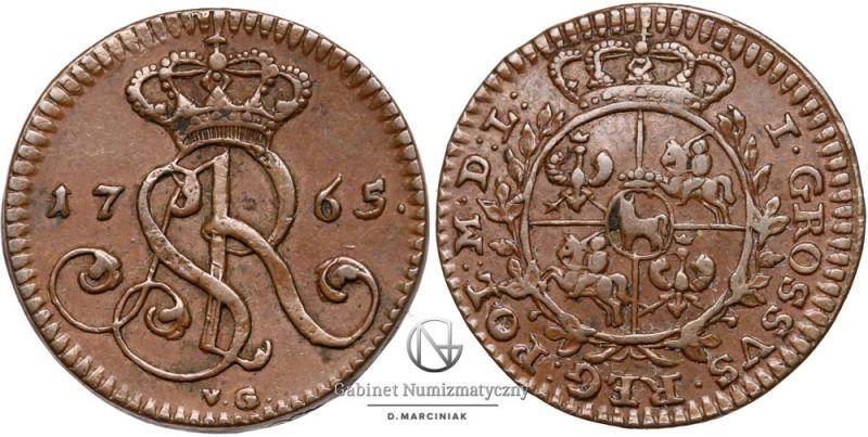 Grosz 1765 z VG pod monogramem