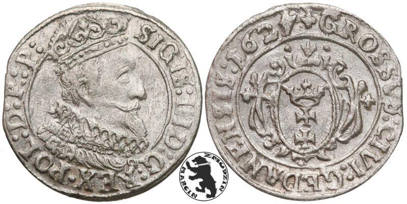 Grosz gdański 1627 z odwróconą cyfrą 4 w dacie