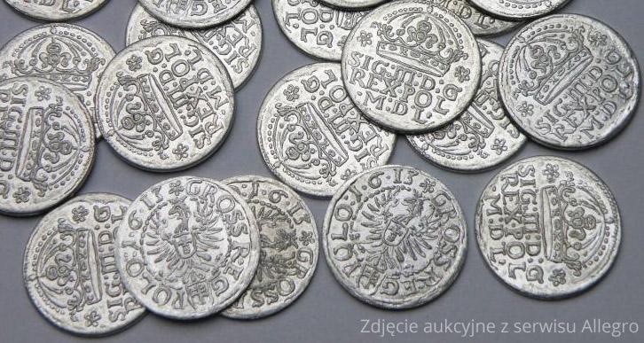Lot fałszywych groszy 1613 Zygmunta III Wazy