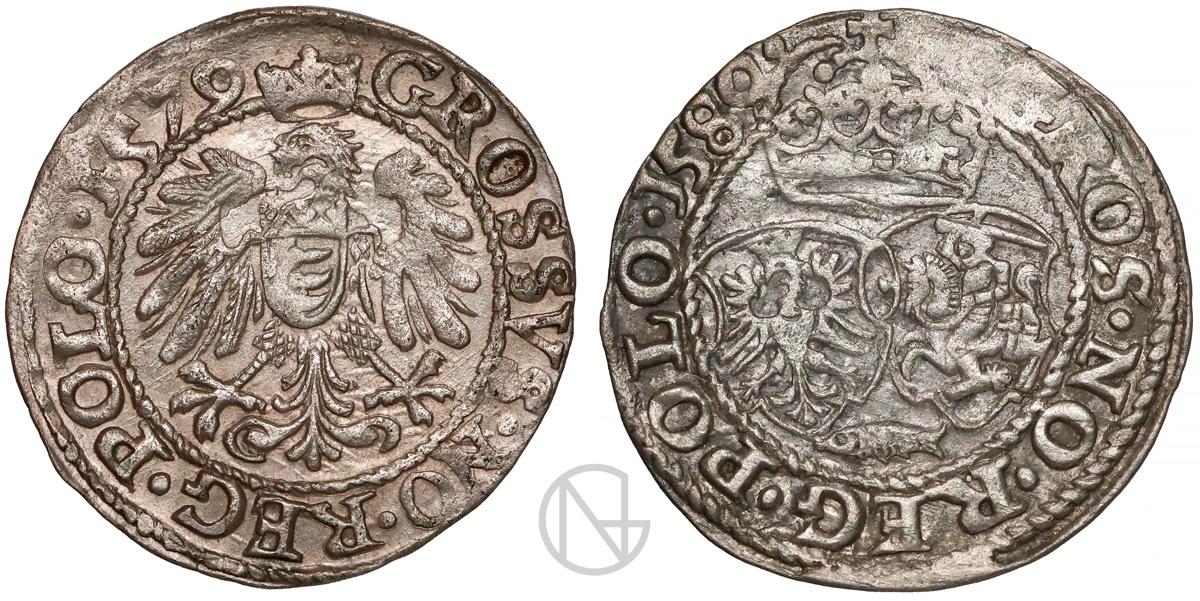 Rewersy groszy 1579-1580