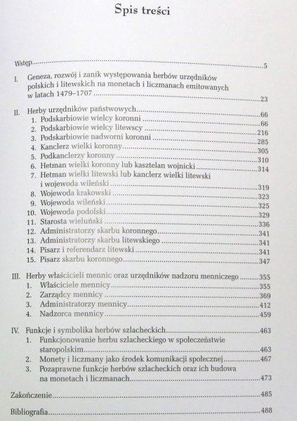 Spis treści z książki Herby urzędników polskich i litewskich Zbigniew Kiełb