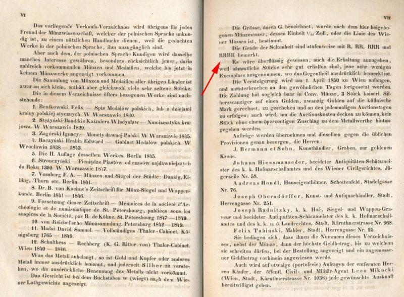 Strona z katalogu aukcji Mikockiego z opisem skali rzadkości