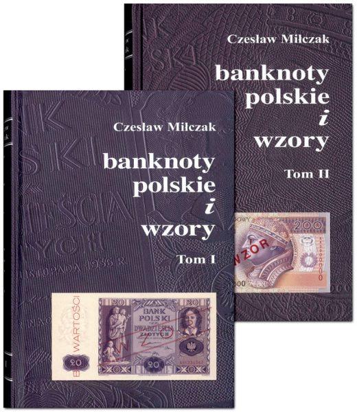 Okładka przednia I i II tomu Katalogu banknoty polskie i wzory Czesława Miłczaka wydanie 2012