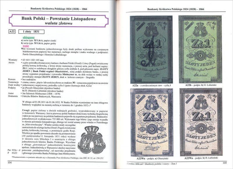 Strona 104 Katalogu banknoty polskie i wzory Czesława Miłczaka wydanie 2012
