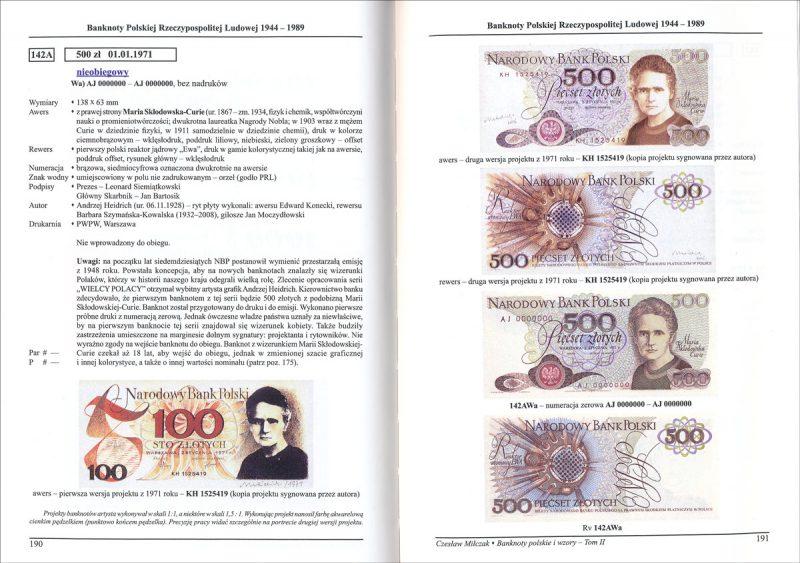 Strona 190 Katalogu banknoty polskie i wzory Czesława Miłczaka wydanie 2012