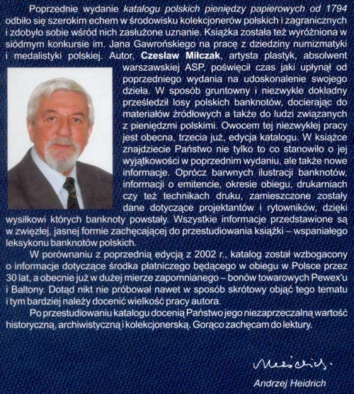 Okładka tylna Katalogu polskich pieniędzy papierowych od 1794 Czesława Miłczaka wydanie 2005