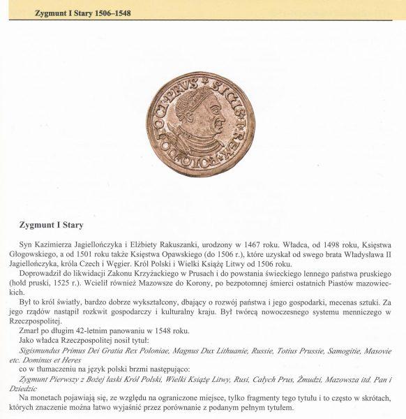 Opis panowania króla w Katalogu Trojaków Polskich Tadeusza Igera