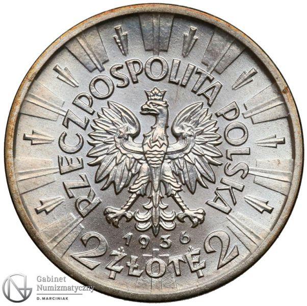 Kopia 2 złote 1936 Piłsudski - Mennica Warszawska - awers
