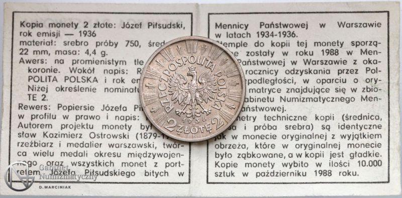 Ulotka emisyjna do kopii 2 złote 1936 Piłsudski wybitej przez Mennicę Warszawską