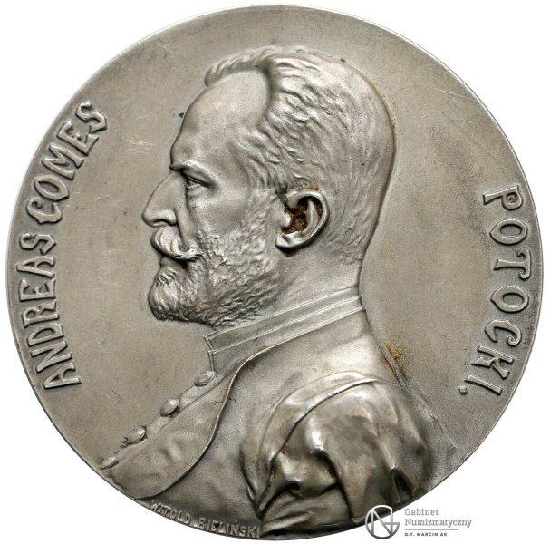 Awers medalu Andrzej Potocki 1908