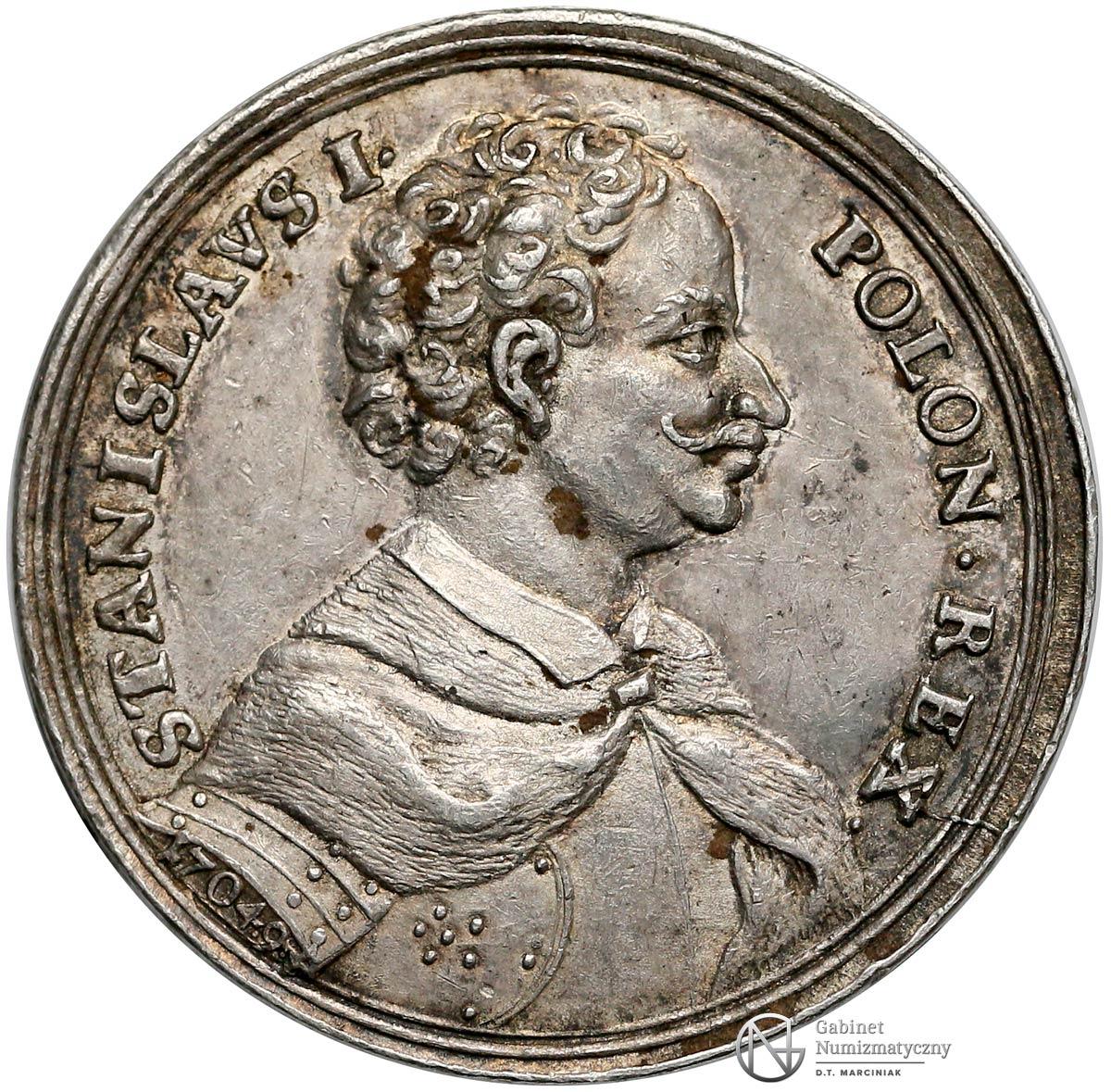 Awers medalu z drugiej elekcji Stanisława Leszczyńskiego z 1733
