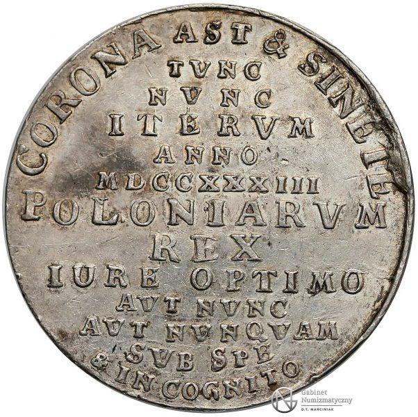 Rewers medalu z drugiej elekcji Stanisława Leszczyńskiego z 1733