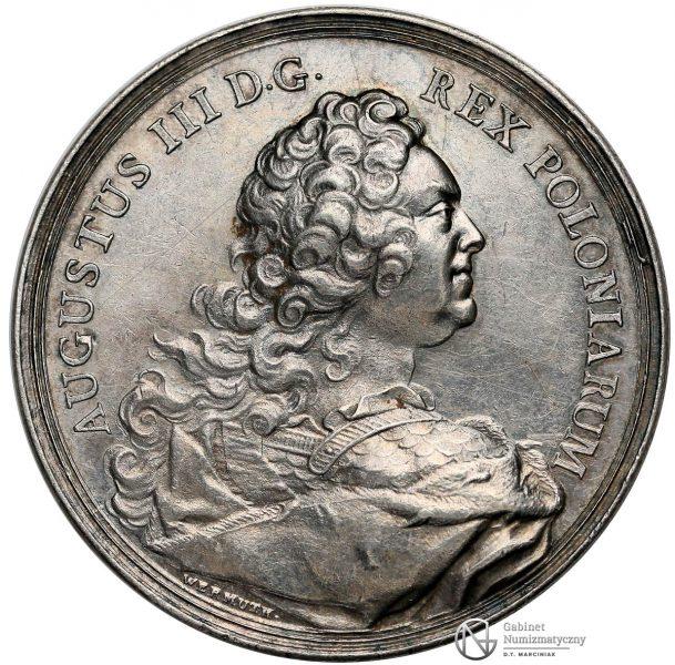 Awers medalu nagrodowego Dobrze Zasłużonym Augusta III Sasa 1747