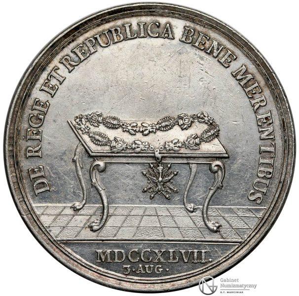 Rewers medalu nagrodowego Dobrze Zasłużonym Augusta III Sasa 1747