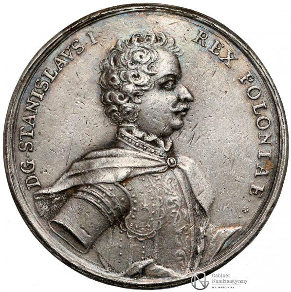 Awers medalu z pierwszej elekcji Stanisława Leszczyńskiego z 1704