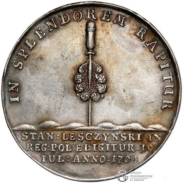 Rewers medalu z pierwszej elekcji Stanisława Leszczyńskiego z 1704