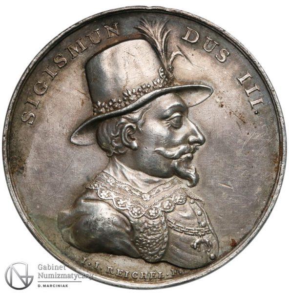 Srebrny medal z Suity Królewskiej z Zygmuntem III Wazą