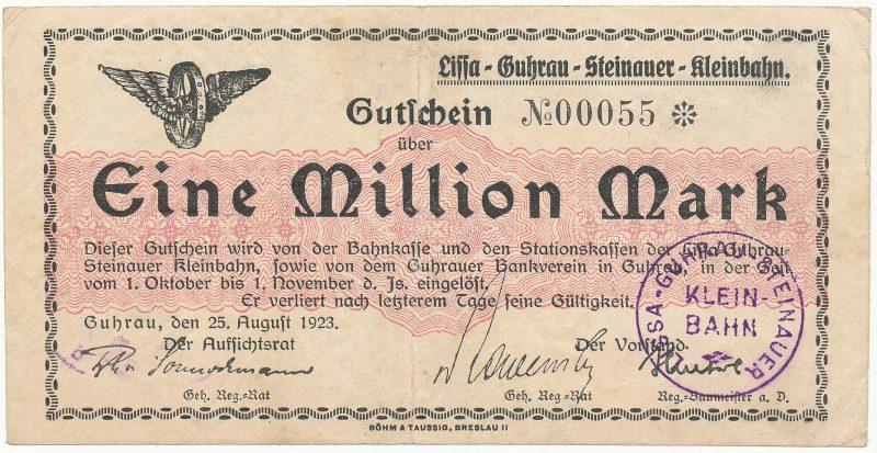 Notgeld 1 milion marek 1923 kasy stacji kolei wąskotorowej w Górze