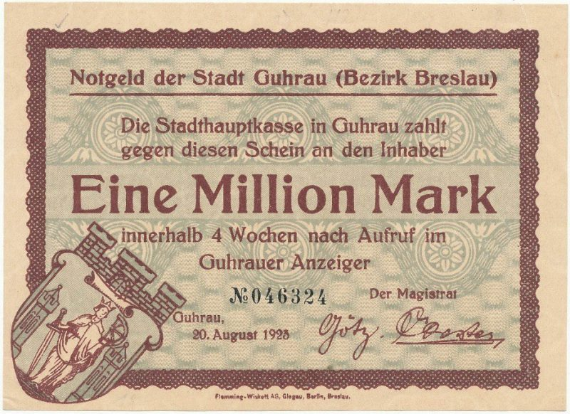 Notgeld 1 milion marek 1923 magistratu w Górze
