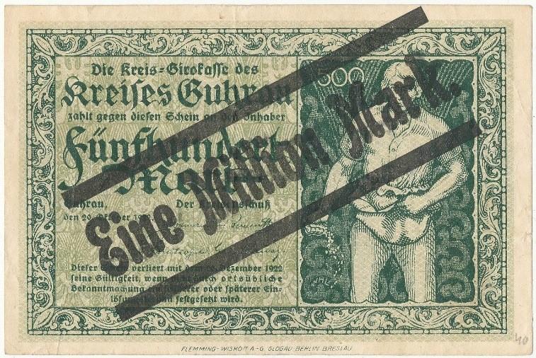 Awers notgelda 1 milion marek 1923 powiatu Góry z przedrukiem