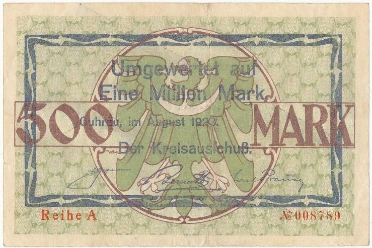 Rewers notgelda 1 milion marek 1923 powiatu Góry z przedrukiem