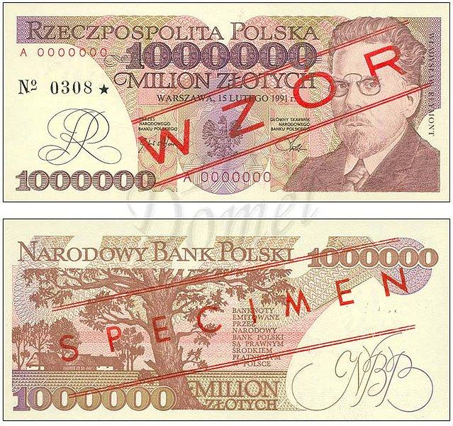 Wzór miliona złotych 1991 z Władysławem Reymontem