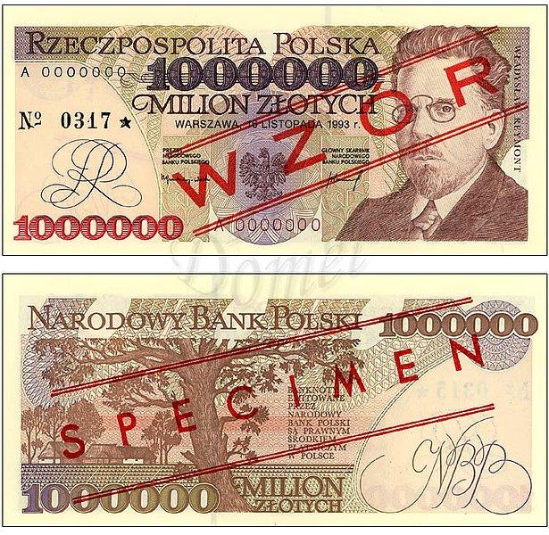 Wzór miliona złotych 1993 z Władysławem Reymontem