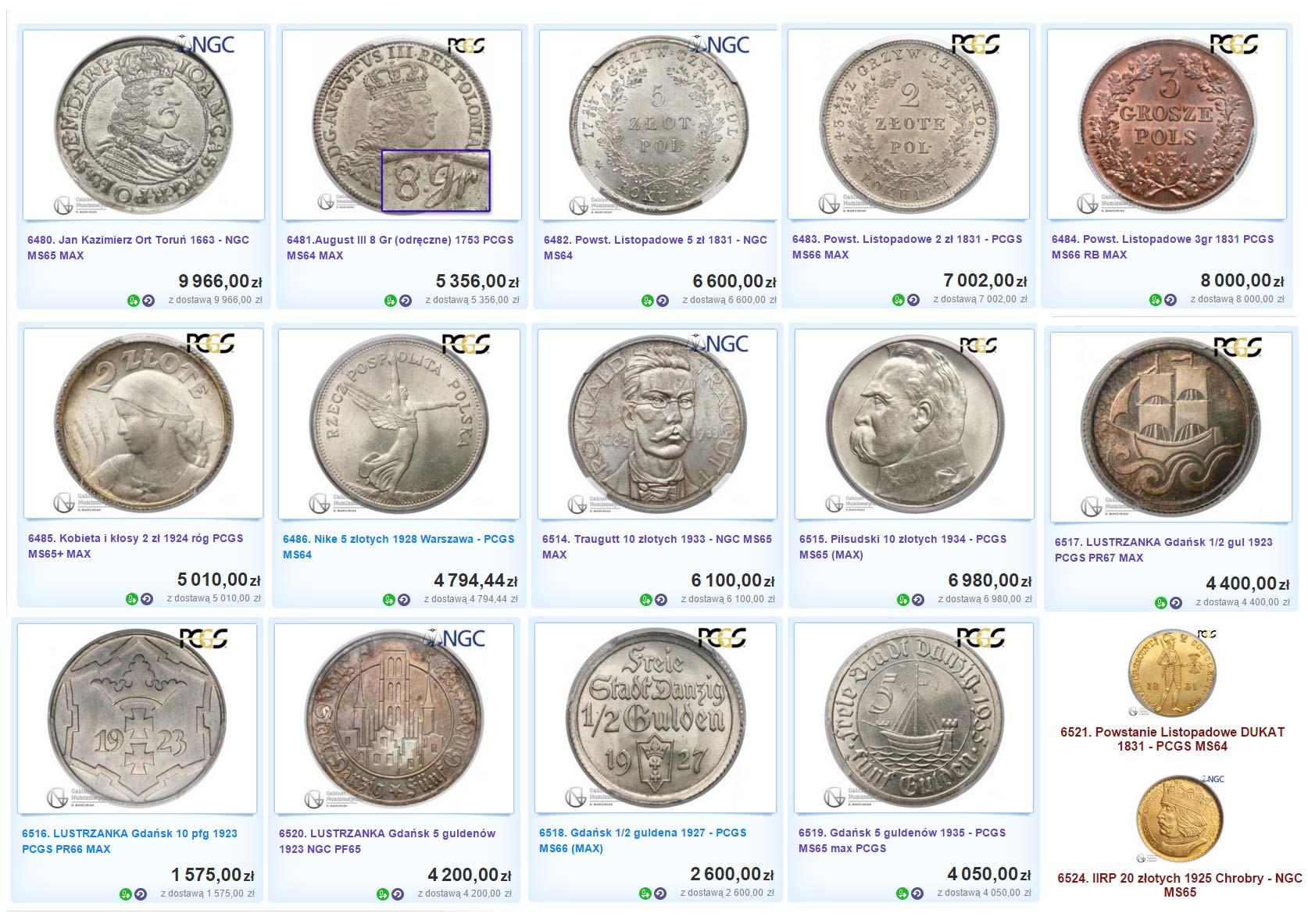 Monety w gradingu NGC i PCGS