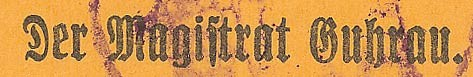 Napis na nowodrukach notgeldów magistratu w Górze