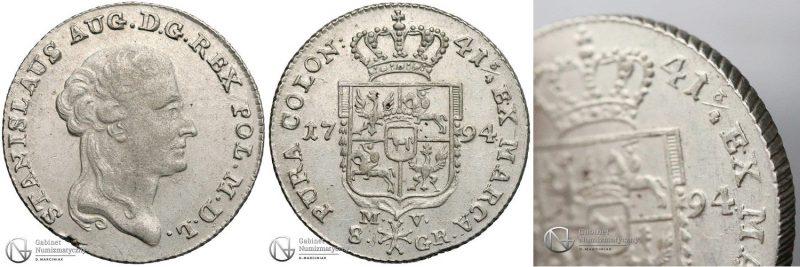 Nieopisana dwuzłotówka 1794 Stanisława Augusta Poniatowskiego
