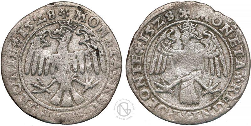 Rewersy trojaków krakowskich 1528 z orłem z głową w lewo i w prawo