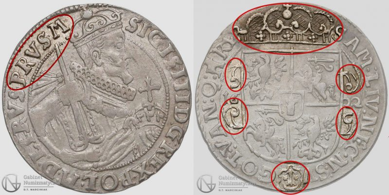 Awers i rewers Orta bydgoskiego 1622