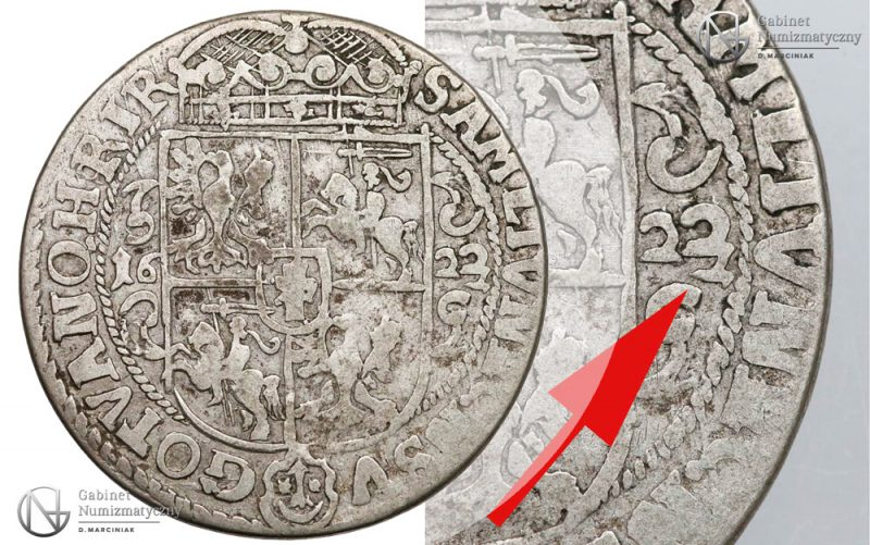 Ort Bydgoszcz 1622 z podwójną cyfrą 2 w dacie