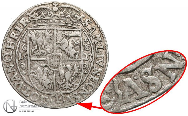 Ort Bydgoszcz 1623 z błędem odwrócone A zamiast litery V w skrócie SV