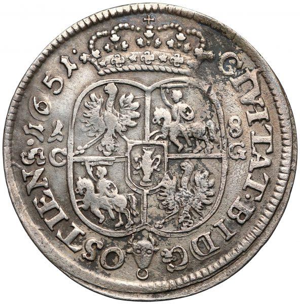 Rewers Ort Bydgoszcz 1651 z bydgoskiej mennicy odmiana z 1-8 i C-G po bokach pół-owalnej tarczy