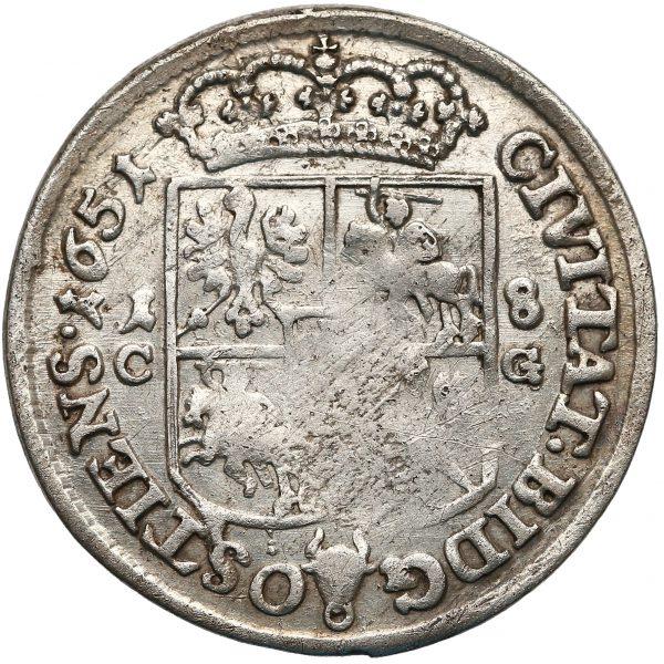 Rewers Ort Bydgoszcz 1651 z bydgoskiej mennicy odmiana z 1-8 i C-G po bokach prostej tarczy