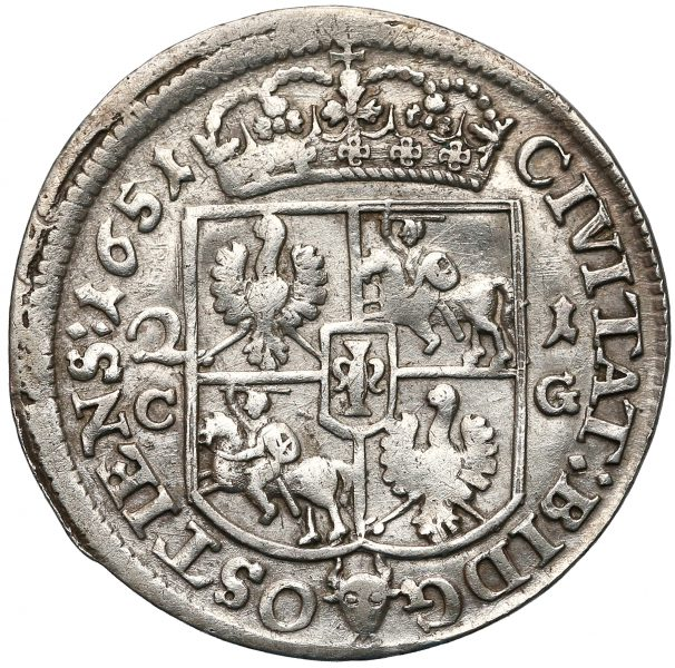 Rewers Ort Bydgoszcz 1651 z bydgoskiej mennicy odmiana z 2-1 i C-G po bokach tarczy