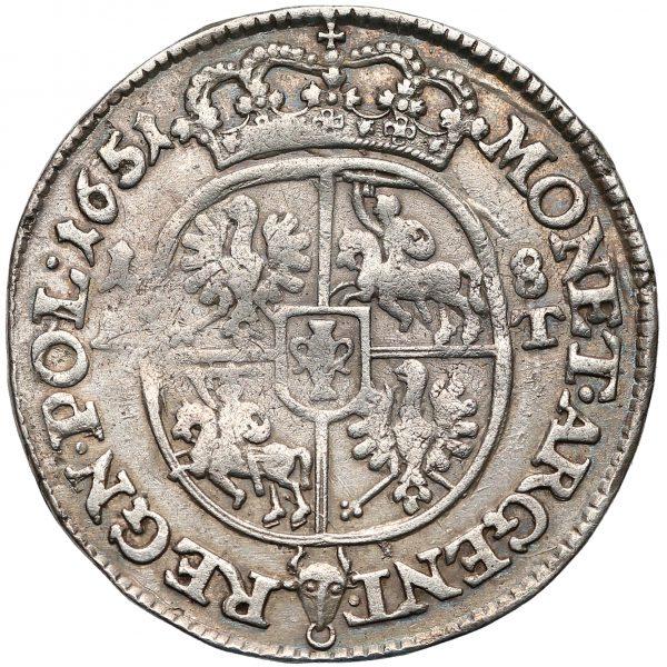 Rewers Ort Bydgoszcz 1651 z poznańskiej mennicy odmiana z 1-8 i A-T po bokach owalnej tarczy