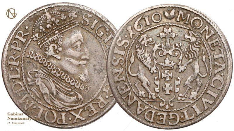 Ort gdański 1610 z lwem z pojedynczym ogonem