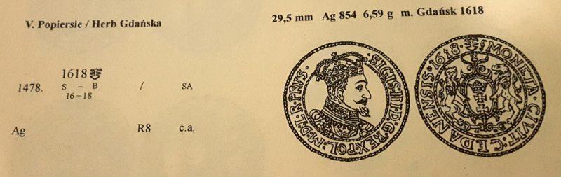 Ort Gdańsk 1618 w katalogu Monety Zygmunta III Wazy E. Kopickiego