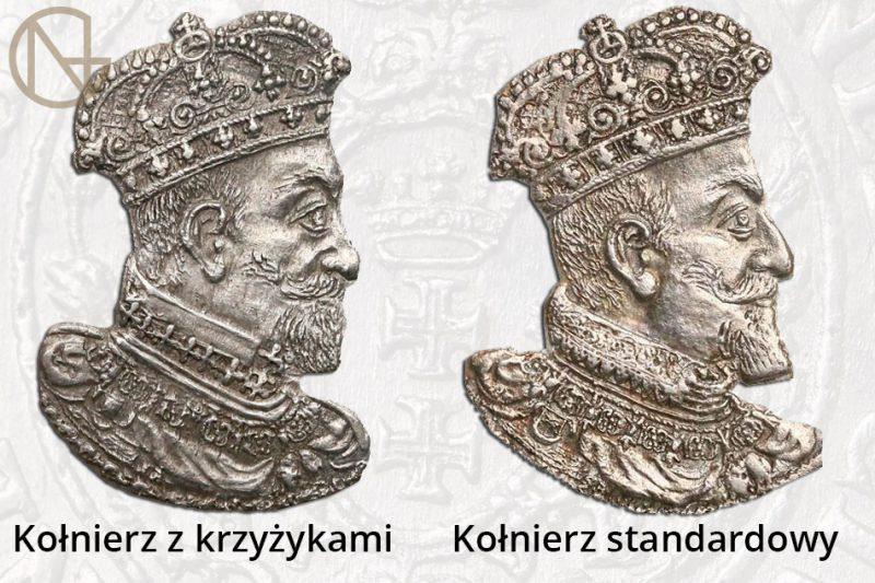 Różnice w kołnierzu króla na ortach gdańskich 1619