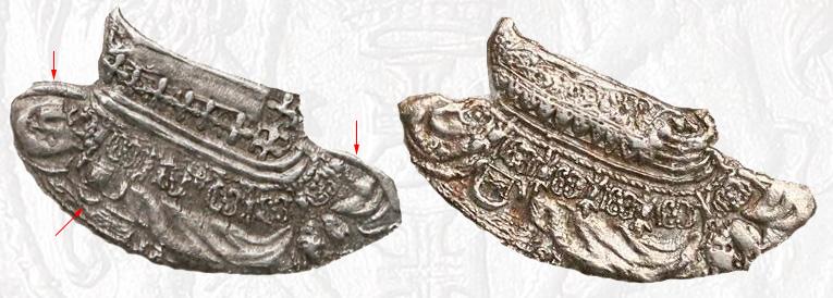 Porównanie wykonania ramion i kołnierzy króla na ortach gdańskich 1619
